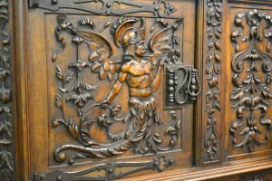 J03-116 Cabinet with Neptune Carvings - Door