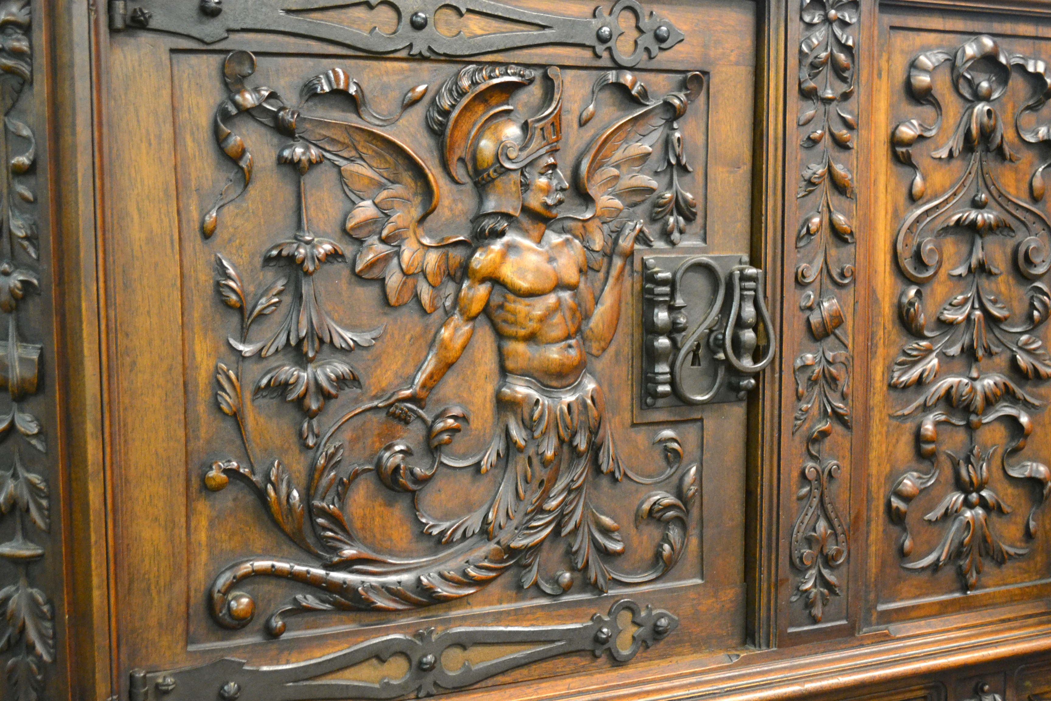 Cabinet with neptune carvings wood finisher s source