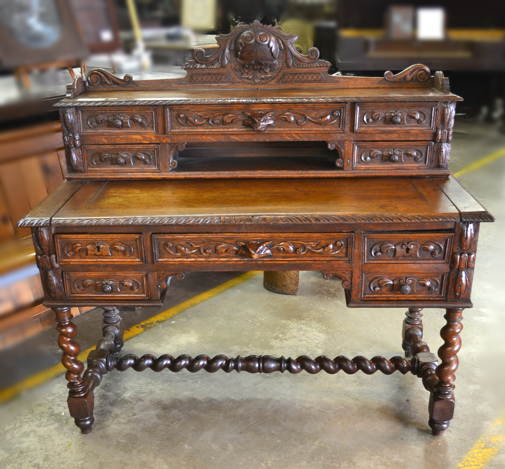 French Carved Oak Writing Desk - Wood Finisher's Source