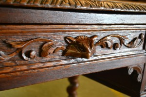 French Carved Oak Writing Desk with Barley Twist